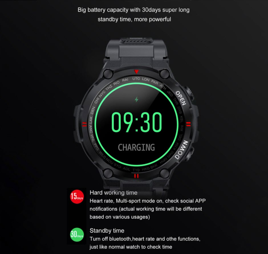 rugged watch battery life